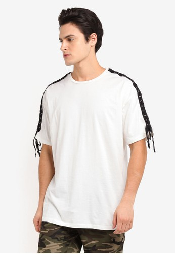 Flesh IMP white Laced Thread Patch Oversized T-Shirt B4414AA2A0F59DGS_1