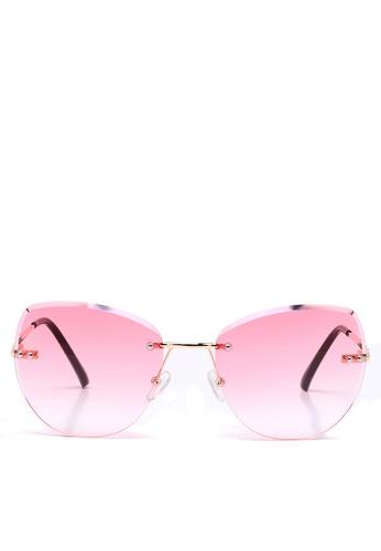 London Rag pink Ombre Lens Metal frame Rimless Sunglasses 18D5FGL233D7CDGS_1