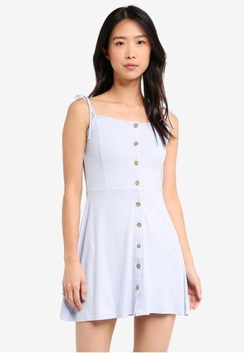 TOPSHOP blue Button Through Rib Mini Dress AA3D6AAFC7C0C9GS_1