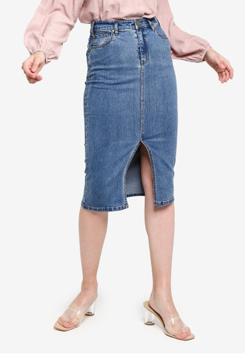 wholesale sales first rate low priced Mollie Front Split Denim Skirt