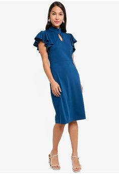 c0d62841fde2f 38% OFF ZALORA Mock Neck Flutter Sleeves Dress S$ 39.90 NOW S$ 24.90 Sizes  XS S M L XL