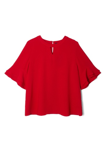 MS. READ red MS. READ Keyhole Neck Top (RED) 9DBBBAA4D5DB18GS_1
