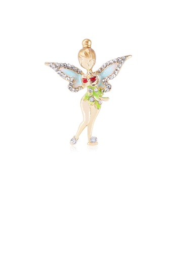 Glamorousky white Fashion and Elegant Plated Gold Angel Blue Wings Brooch with Cubic Zirconia B0153AC91A2D48GS_1