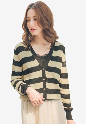 Yoco black Striped Knitted Cardigan F10F7AA70B4210GS_1