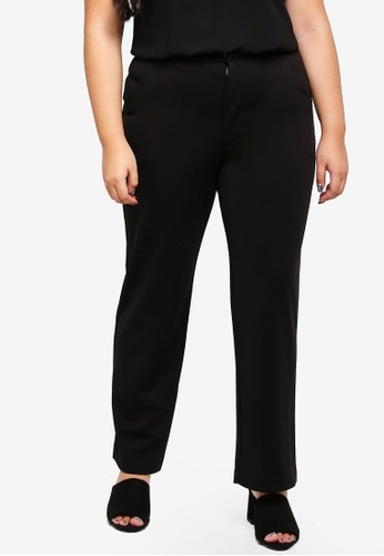 Ex'otico black Plus Size Basic Trousers With Stretch 1FB1DAAAAA700DGS_1