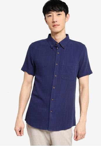 ZALORA BASICS navy Short Sleeve Linen Blend Shirt D990AAA8FAFC9EGS_1
