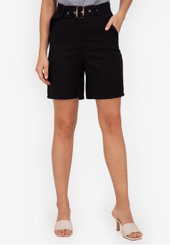 ZALORA WORK black Belted Shorts FDD80AA890BF25GS_1