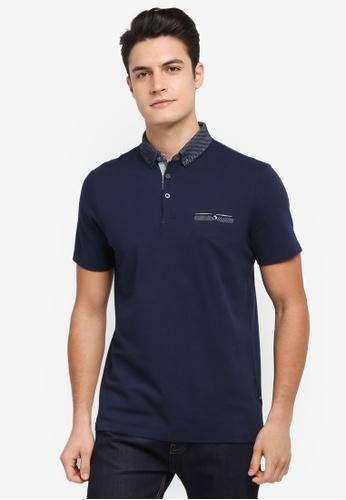 Burton Menswear London navy Navy Popcorn Textured Polo Shirt 52DD6AA5B94893GS_1