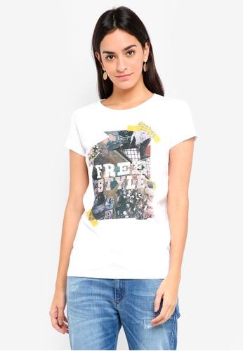 Sisley white Sequins Printed T-Shirt D416FAAB172E4DGS_1
