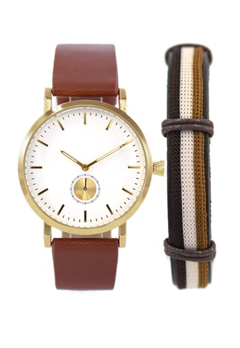 LEUPP brown Kaoru Watch And Bracelet Pack 64B6DACBC35BC8GS_1