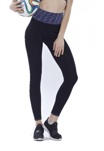 cc8a5f22694072 YSoCool black and navy Women Fitness Yoga Sport Workout Printed Tight Long  Pants (Navy)