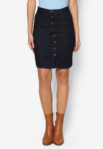 單排扣丹寧短裙, 服飾, 裙esprit hong kong 分店子