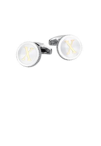 Glamorousky silver Fashion Simple English Alphabet X Round Cufflinks 43D1DACF33B819GS_1