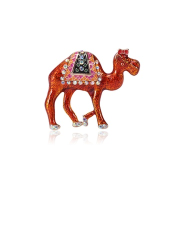 Glamorousky silver Fashion and Simple Red Camel Brooch with Cubic Zirconia D3A4BACA9DBB78GS_1