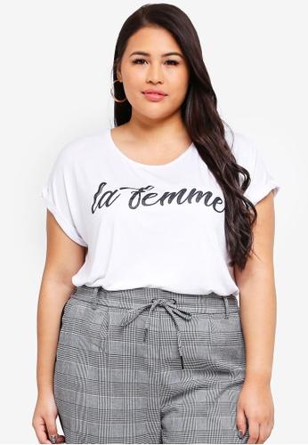 Only CARMAKOMA 白色 大尺碼 短袖T恤 51458AAE8C9FC8GS_1