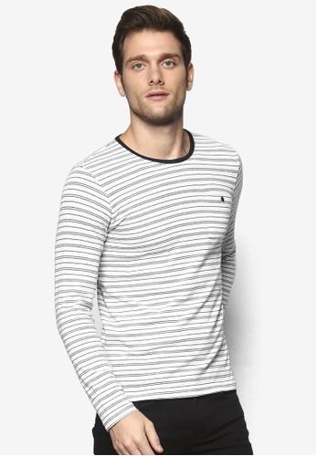 條紋修身長袖衫, 服飾, 條紋Tesprit outlet尖沙咀恤