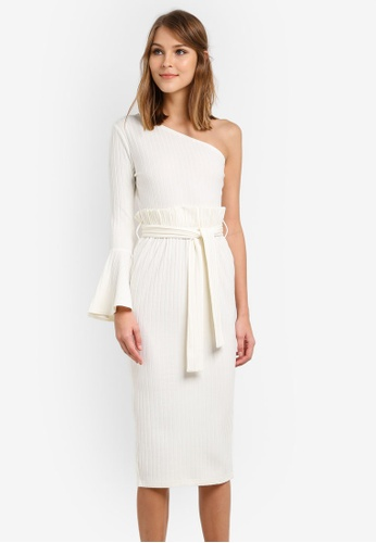 Lavish Alice white One Shoulder Rib Knit Paperbag Waist Midi Dress LA457AA0SANKMY_1