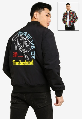 Timberland black CNY Embroidered Reversible Bomber Jacket 2FB7FAAF77B52AGS_1