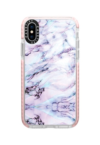 Casetify pink and multi Marble Swirl Protective Protective Impact Case with Camera Ring For iPhone XS - Pink E6870AC1F99FE2GS_1