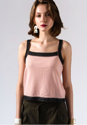 miss Viola pink CONTRAST COLOR-EDGE SWEATER SUN TOP 923E3AACFE68E0GS_1