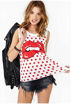 Women Hippie Big Red Lip Printing Dot Camisole Sleeveless T-shirt