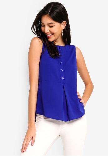 ZALORA 藍色 無袖上衣 886D8AAF6ED230GS_1