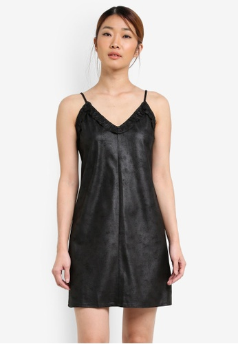 Something Borrowed black Faux Leather Ruffle Cami Dress D7046AAD3E1276GS_1