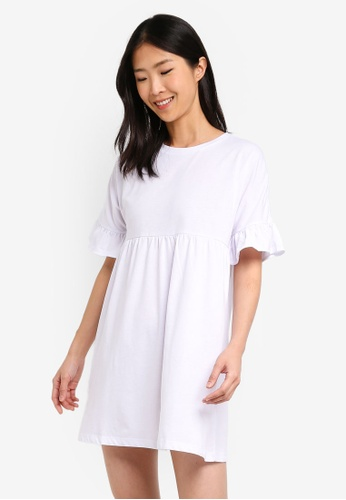 ZALORA BASICS white Basic Jersey Smock Dress 47187AAA27E82EGS_1