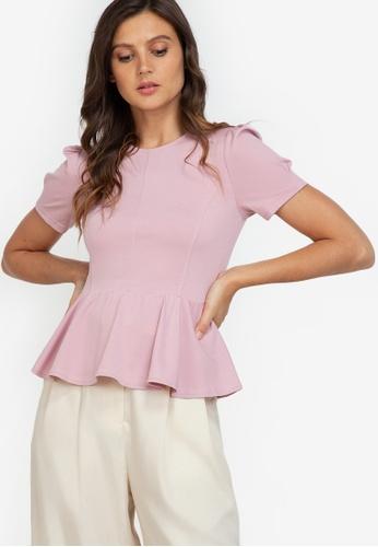 ZALORA WORK pink Puff Sleeve Peplum Top 90167AA1BF062CGS_1