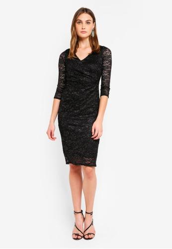 Dorothy Perkins black Billie   Blossom Black Wrap Front Bodycon Dress  31BA5AADF671B8GS 1 e64b95fa6