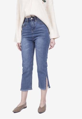 Caoros blue Side-Slit Frayed Crop Jeans 5F2DEAA2F2F38BGS_1