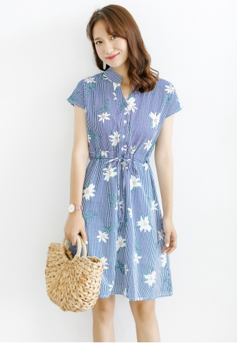 Shopsfashion blue and multi Floral Printed Fit And Flare Dress SH088AA0RWXVMY_1