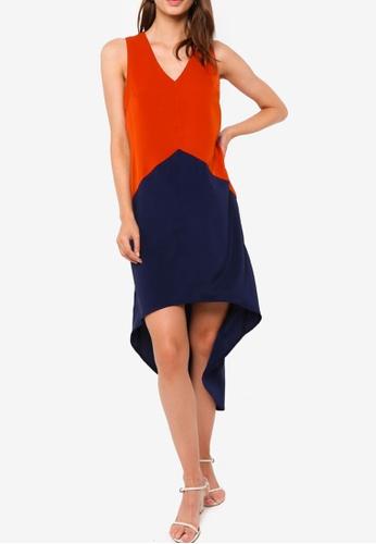 ZALORA WORK multi Colourblock High Low Hem Dress F5081AAC89EEF0GS_1