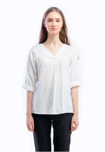 The B Club white V-neck Long Sleeve Oversize Cutton Shirt 6478EAA3764203GS_1