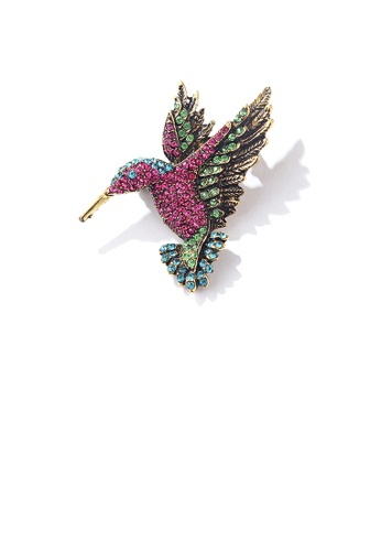 Glamorousky gold Simple and Bright Plated Gold Red Hummingbird Brooch with Cubic Zirconia 420E4AC5F9F0F6GS_1