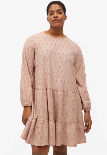 Violeta by MANGO pink Plus Size Flared Short Dress 28ED5AAF00A45DGS_1
