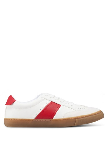 Burton Menswear London red White Retro Trainers With A Red Stripe On A Gum Sole D7C4BSHB4973A0GS_1