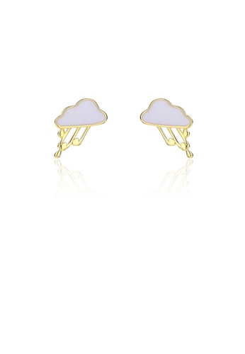 Glamorousky silver 925 Sterling Silver Plated Gold Simple and Cute Cloud Stud Earrings 10059AC8F56F1AGS_1