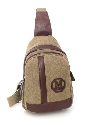 Jackbox brown Korean Fashion Canvas Mix Leather Sling Shoulder Messenger Bag 341 (Khaki) JA762AC0RNECMY_1