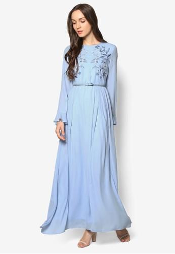 Luxe 繡花腰帶長洋裝, 服飾,esprit outlet 高雄 洋裝