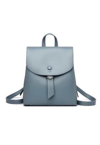 Lara blue Women's Minimalist Plain Wear-resistant PU Leather Flap Backpack - Blue 29C4EAC64C7095GS_1
