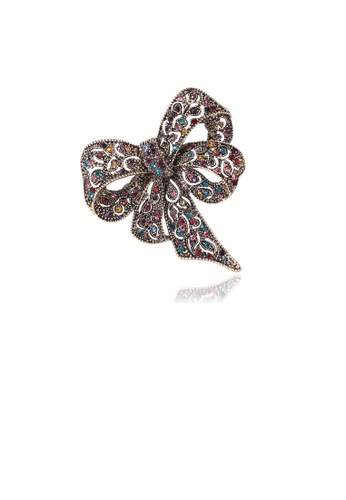 Glamorousky silver Fashion Vintage Plated Gold Ribbon Brooch with Cubic Zirconia 3B21BAC0C81076GS_1