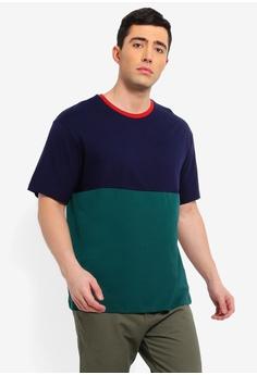 51958bee305c Topman navy Navy   Green Colour Block T-Shirt C9D15AADF65FD6GS 1