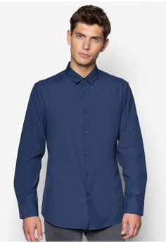 Solid Colour Poplin Long Sleeve Shirt With Button Down