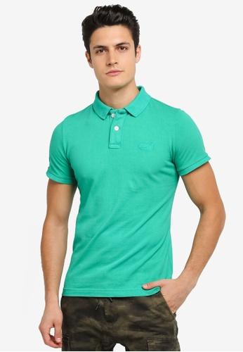 Superdry 綠色 Vintage Destroy Pique Polo Shirt SU137AA0SLMQMY_1