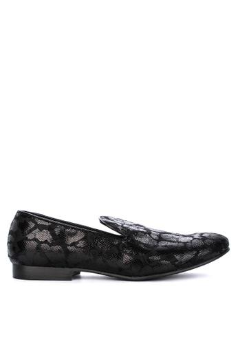 Topman black Duke Print Loafers 8EF12SH8BBFF0FGS_1