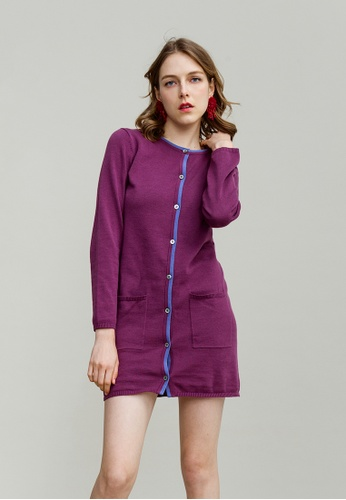 KLAPS purple Long Cardigan with Front Pockets 2ADA4AA66C6250GS_1
