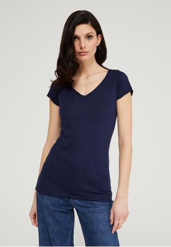 Sisley blue V-neck T-shirt 19375AA9D2D1ADGS_1