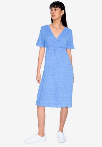ZALORA BASICS blue Short Sleeve Shirred Dress 8FC98AA269ABE1GS_1