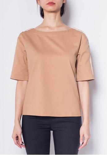 SUB Women Grosgrain Short Sleeve Blouse F91D7AAE392AA8GS_1